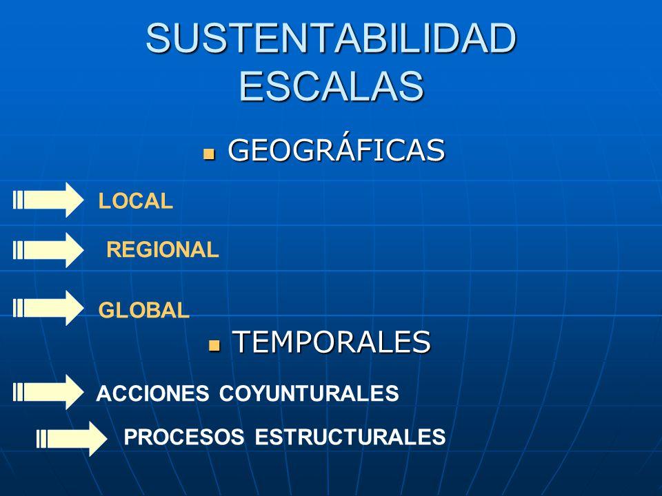 SUSTENTABILIDAD ESCALAS GEOGRÁFICAS GEOGRÁFICAS LOCAL REGIONAL GLOBAL TEMPORALES TEMPORALES ACCIONES COYUNTURALES PROCESOS ESTRUCTURALES
