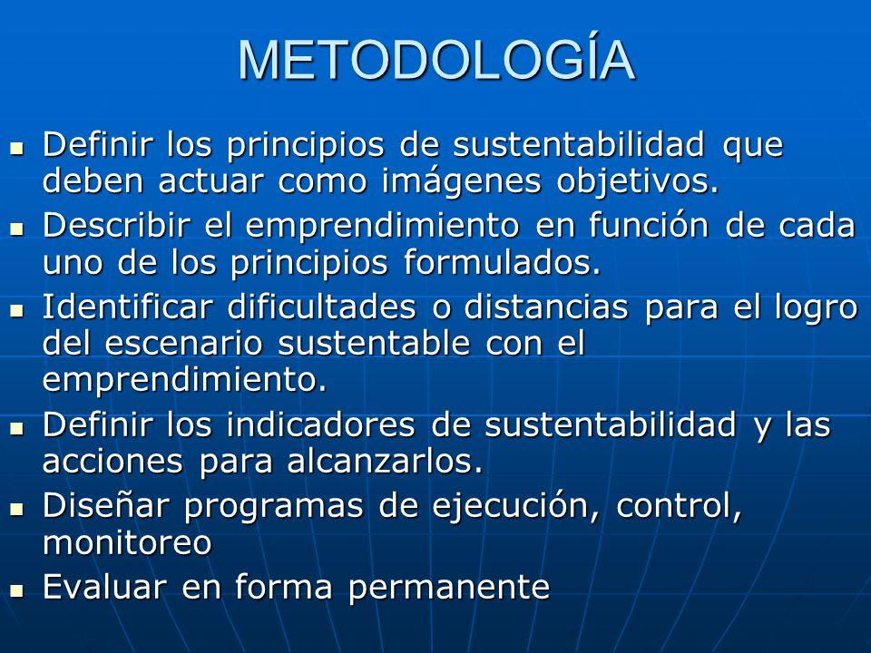 METODOLOGÍA Definir los principios de sustentabilidad que deben actuar como imágenes objetivos.