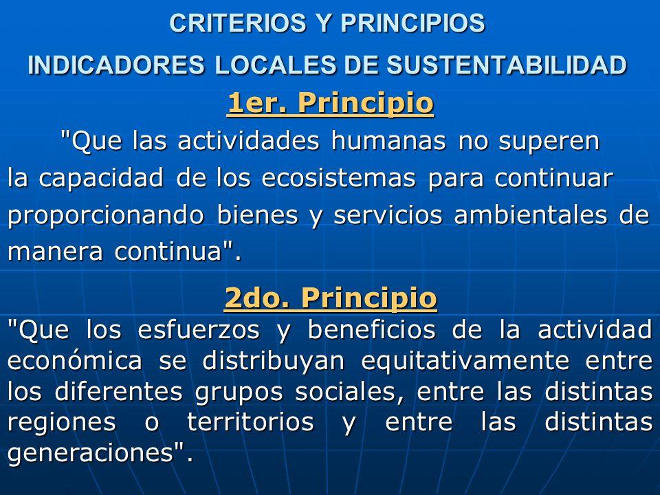 CRITERIOS Y PRINCIPIOS INDICADORES LOCALES DE SUSTENTABILIDAD 1er.