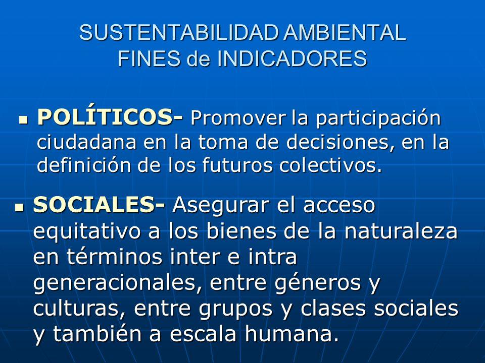 SUSTENTABILIDAD AMBIENTAL FINES de INDICADORES POLÍTICOS- Promover la participación ciudadana en la toma de decisiones, en la definición de los futuros colectivos.