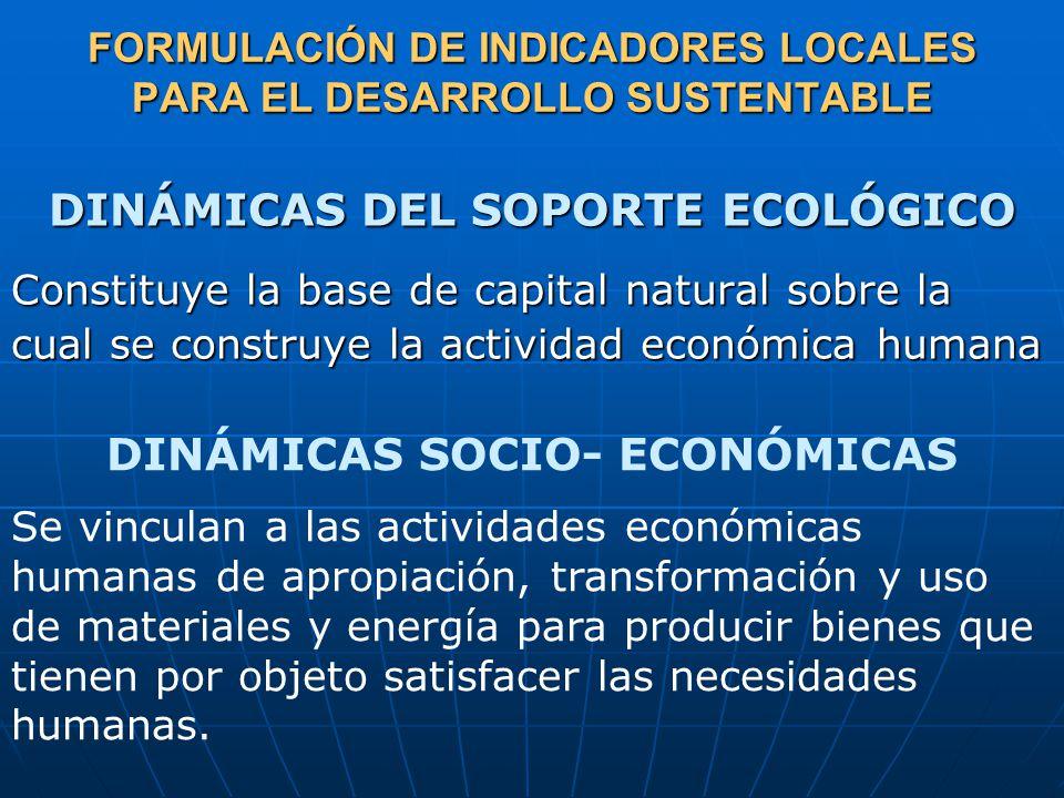 DINÁMICAS DEL SOPORTE ECOLÓGICO Constituye la base de capital natural sobre la cual se construye la actividad económica humana FORMULACIÓN DE INDICADORES LOCALES PARA EL DESARROLLO SUSTENTABLE DINÁMICAS SOCIO- ECONÓMICAS Se vinculan a las actividades económicas humanas de apropiación, transformación y uso de materiales y energía para producir bienes que tienen por objeto satisfacer las necesidades humanas.