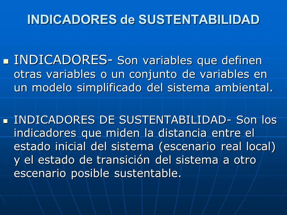 INDICADORES de SUSTENTABILIDAD INDICADORES- Son variables que definen otras variables o un conjunto de variables en un modelo simplificado del sistema ambiental.