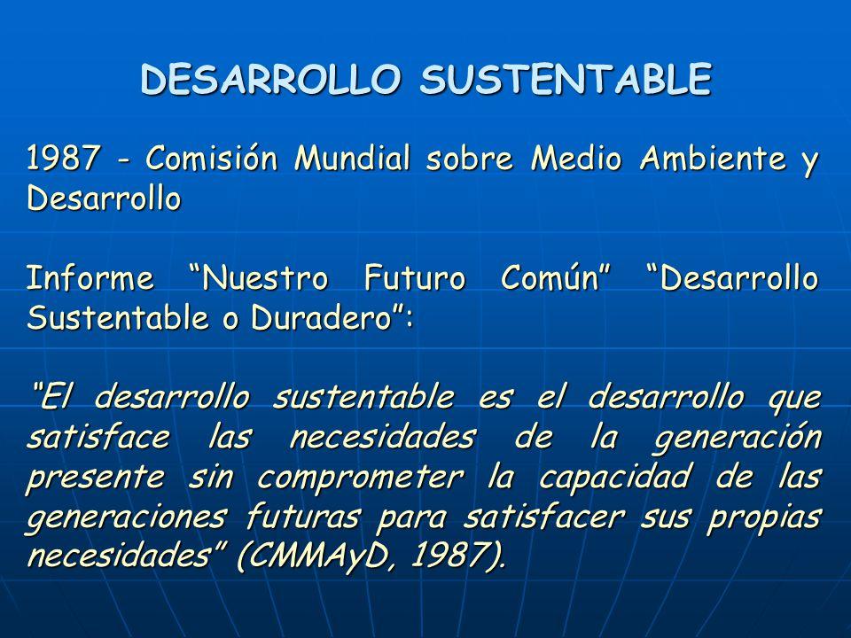 DESARROLLO SUSTENTABLE 1987 - Comisión Mundial sobre Medio Ambiente y Desarrollo Informe Nuestro Futuro Común Desarrollo Sustentable o Duradero: El desarrollo sustentable es el desarrollo que satisface las necesidades de la generación presente sin comprometer la capacidad de las generaciones futuras para satisfacer sus propias necesidades (CMMAyD, 1987).