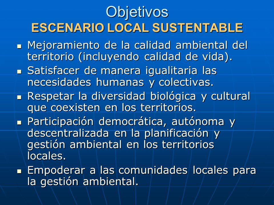 Objetivos ESCENARIO LOCAL SUSTENTABLE Mejoramiento de la calidad ambiental del territorio (incluyendo calidad de vida).