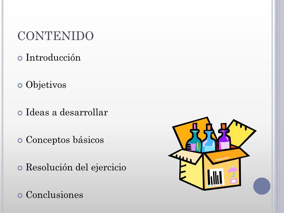 CONTENIDO Introducción Objetivos Ideas a desarrollar Conceptos básicos Resolución del ejercicio Conclusiones