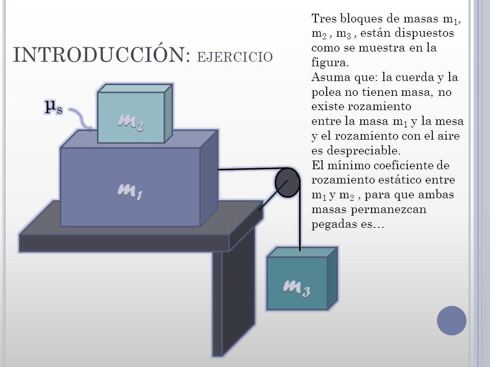 INTRODUCCIÓN: EJERCICIO Tres bloques de masas m 1, m 2, m 3, están dispuestos como se muestra en la figura. Asuma que: la cuerda y la polea no tienen