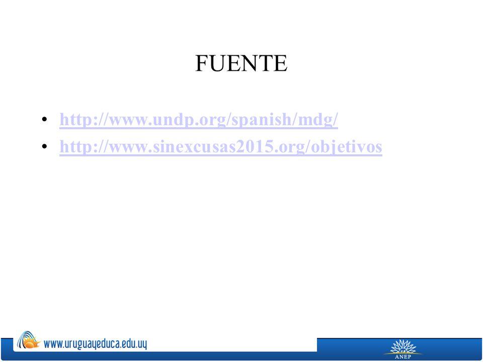 FUENTE http://www.undp.org/spanish/mdg/ http://www.sinexcusas2015.org/objetivos