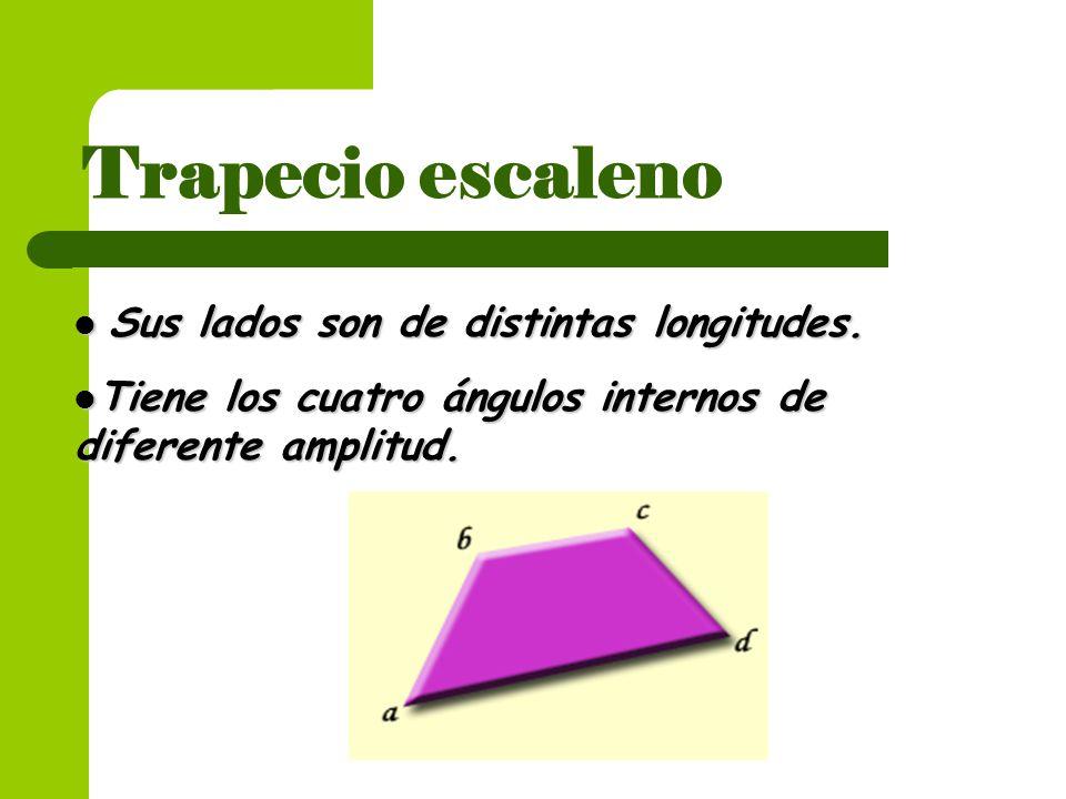 Trapecio escaleno Sus lados son de distintas longitudes. Sus lados son de distintas longitudes. Tiene los cuatro ángulos internos de diferente amplitu
