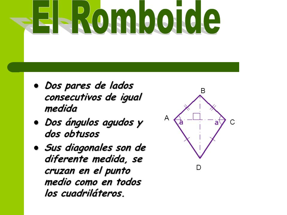 Dos pares de lados consecutivos de igual medida Dos ángulos agudos y dos obtusos Sus diagonales son de diferente medida, se cruzan en el punto medio como en todos los cuadriláteros.