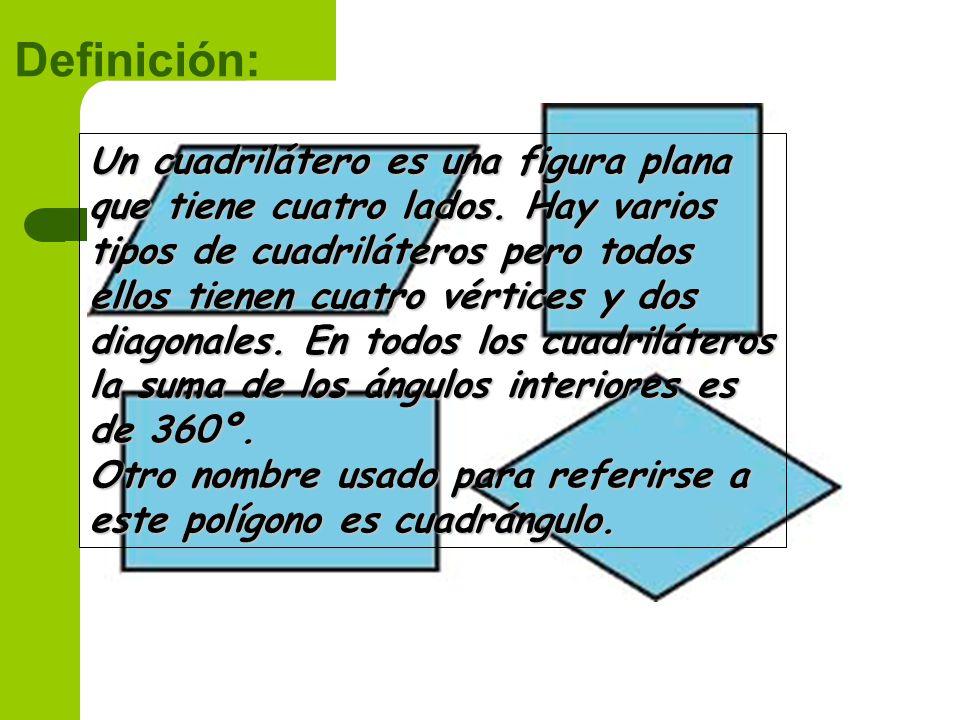 Definición: Un cuadrilátero es una figura plana que tiene cuatro lados. Hay varios tipos de cuadriláteros pero todos ellos tienen cuatro vértices y do