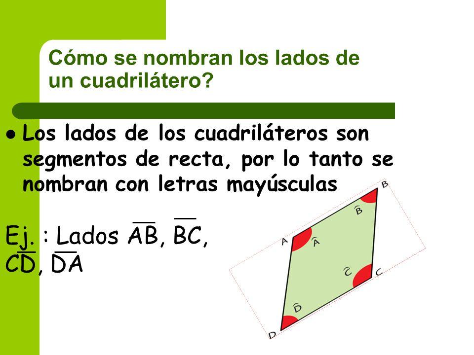 Cómo se nombran los lados de un cuadrilátero? Los lados de los cuadriláteros son segmentos de recta, por lo tanto se nombran con letras mayúsculas Ej.