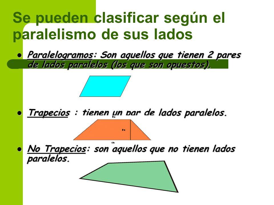 Se pueden clasificar según el paralelismo de sus lados Paralelogramos: Son aquellos que tienen 2 pares de lados paralelos (los que son opuestos).