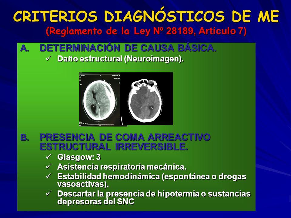 A. DETERMINACIÓN DE CAUSA BÁSICA. Daño estructural (Neuroimagen). Daño estructural (Neuroimagen). B. PRESENCIA DE COMA ARREACTIVO ESTRUCTURAL IRREVERS
