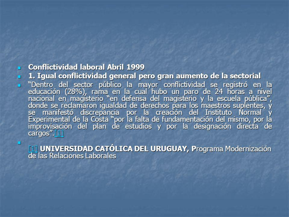 Conflictividad laboral Abril 1999 Conflictividad laboral Abril 1999 1.