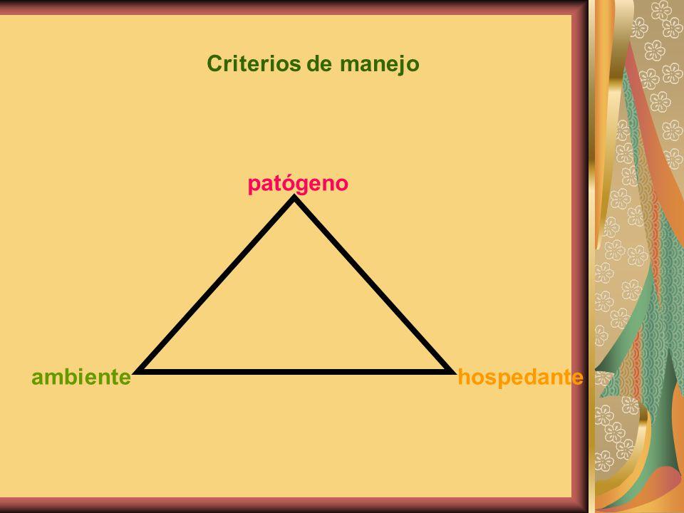 Criterios de manejo patógeno hospedanteambiente