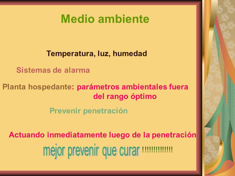 Medio ambiente Temperatura, luz, humedad Sistemas de alarma Planta hospedante: parámetros ambientales fuera del rango óptimo Prevenir penetración Actu