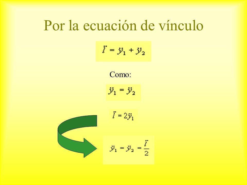 Por la ecuación de vínculo Como: