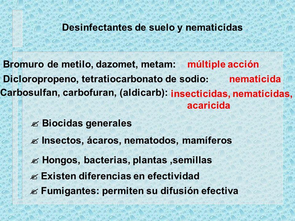 Desinfectantes de suelo y nematicidas Bromuro de metilo, dazomet, metam:múltiple acción Carbosulfan, carbofuran, (aldicarb): insecticidas, nematicidas