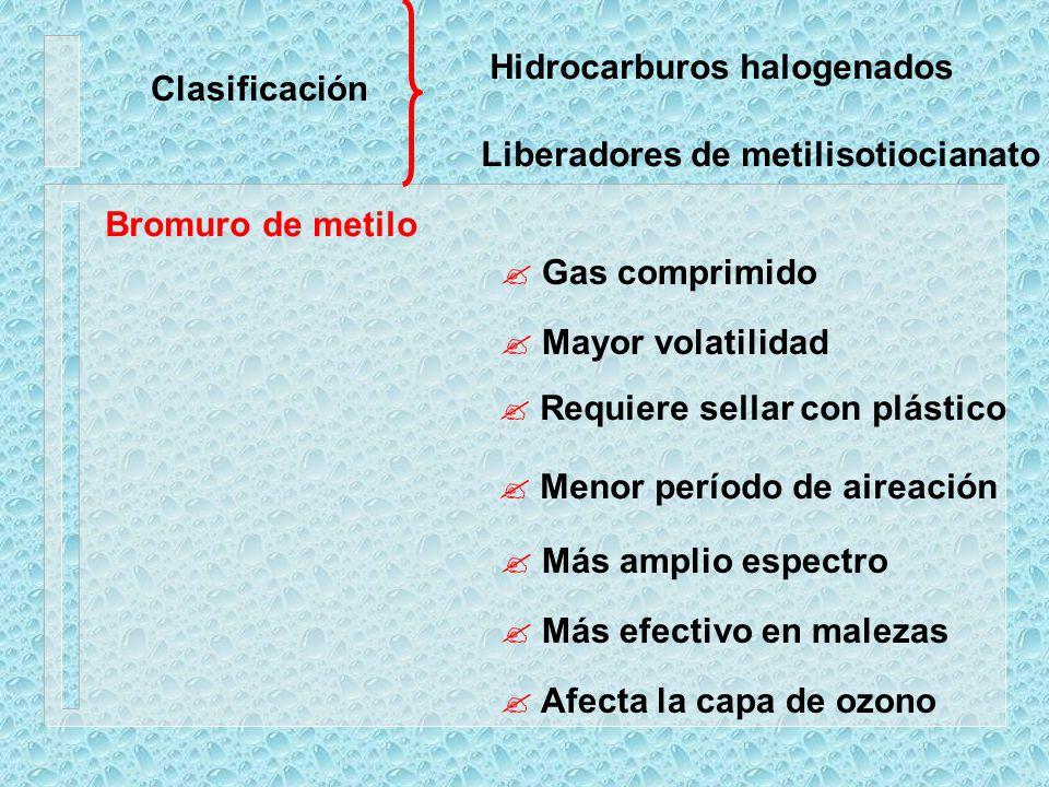 Clasificación Hidrocarburos halogenados Liberadores de metilisotiocianato Bromuro de metilo ? Gas comprimido ? Mayor volatilidad ? Requiere sellar con