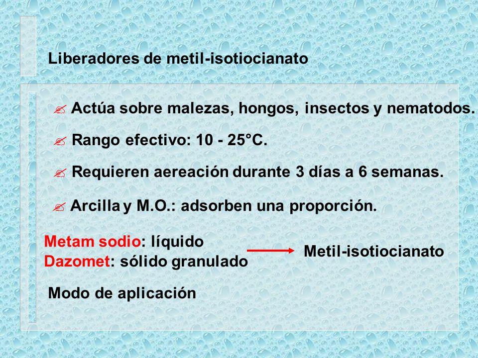 Liberadores de metil-isotiocianato ? Actúa sobre malezas, hongos, insectos y nematodos. ? Rango efectivo: 10 - 25°C. ? Requieren aereación durante 3 d