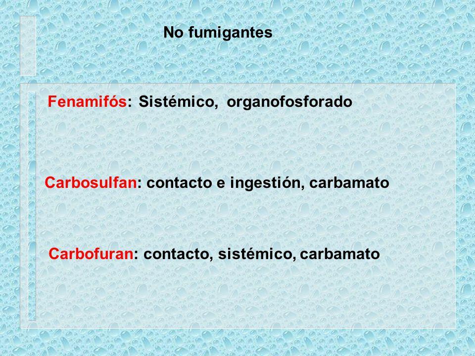 Carbosulfan: contacto e ingestión, carbamato Carbofuran: contacto, sistémico, carbamato No fumigantes Fenamifós:Sistémico, organofosforado