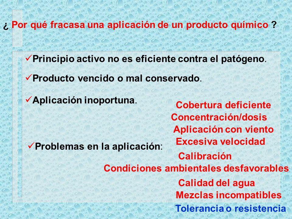 ¿ Por qué fracasa una aplicación de un producto químico ? Principio activo no es eficiente contra el patógeno. Producto vencido o mal conservado. Apli