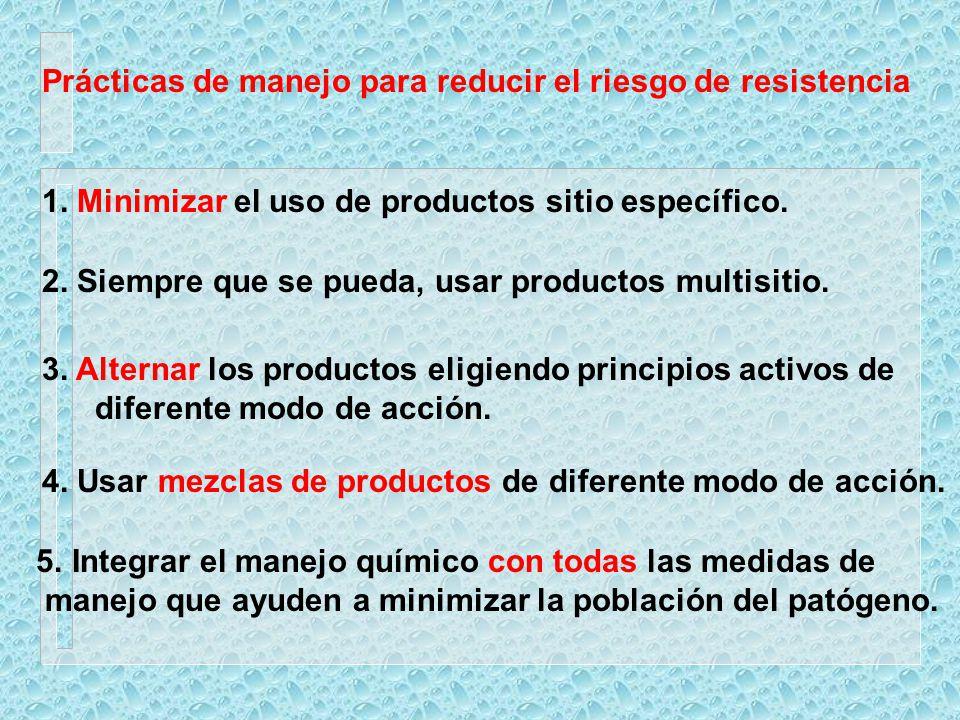 Prácticas de manejo para reducir el riesgo de resistencia 1. Minimizar el uso de productos sitio específico. 2. Siempre que se pueda, usar productos m