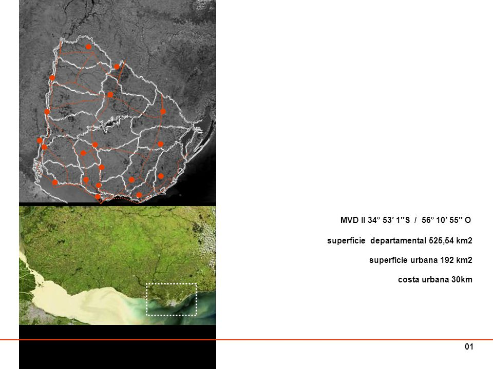 Montevideo _ ciudad territorio El área metropolitana de Montevideo (A.M.M.) engloba un territorio definido por un arco de círculo de 30 km de radio promedio, desde el centro de la ciudad de Montevideo, Plaza Libertad (km 0), y se extiende sobre una superficie de 192.418 has.