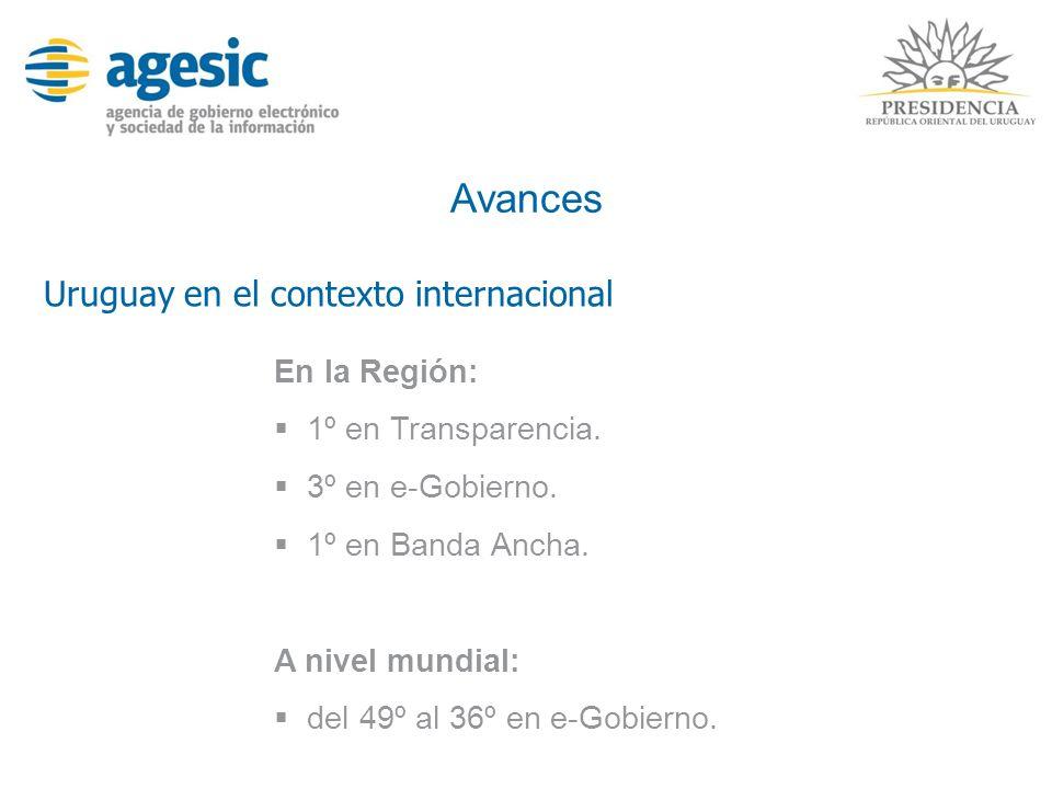 Avances En la Región: 1º en Transparencia. 3º en e-Gobierno. 1º en Banda Ancha. A nivel mundial: del 49º al 36º en e-Gobierno. Uruguay en el contexto