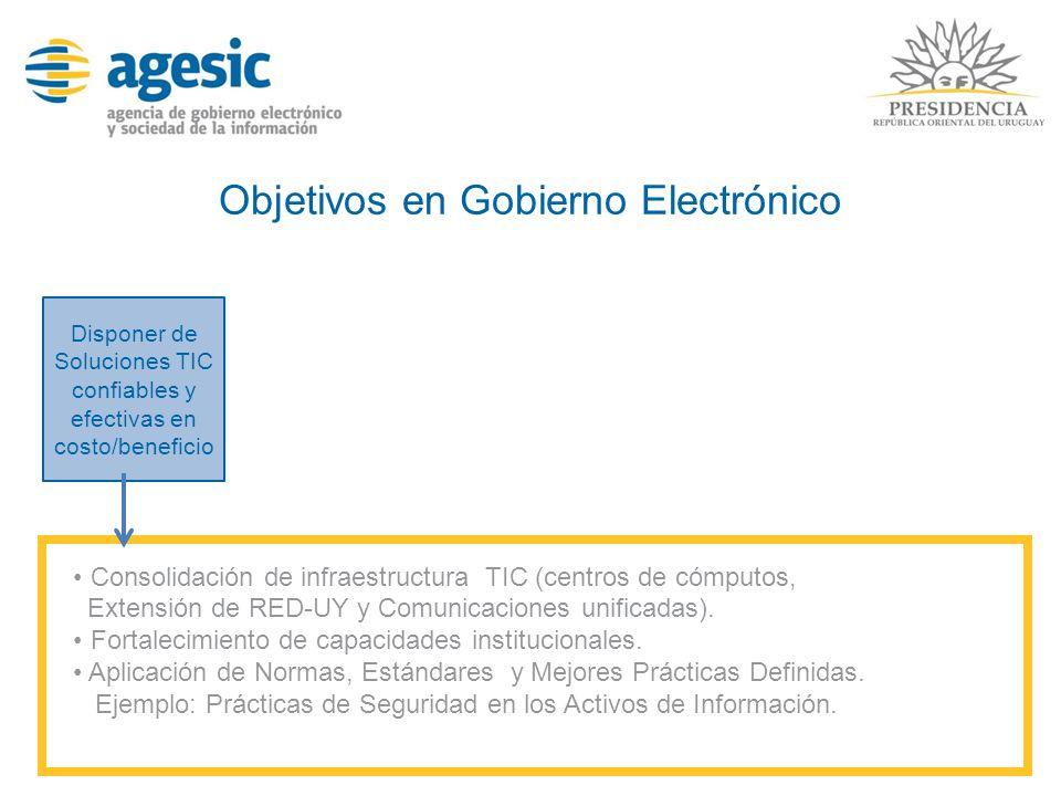 Objetivos en Gobierno Electrónico Disponer de Soluciones TIC confiables y efectivas en costo/beneficio Consolidación de infraestructura TIC (centros d