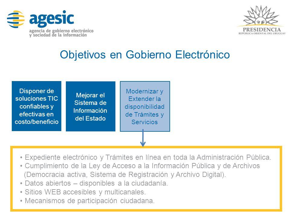 Objetivos en Gobierno Electrónico Disponer de soluciones TIC confiables y efectivas en costo/beneficio Expediente electrónico y Trámites en línea en t
