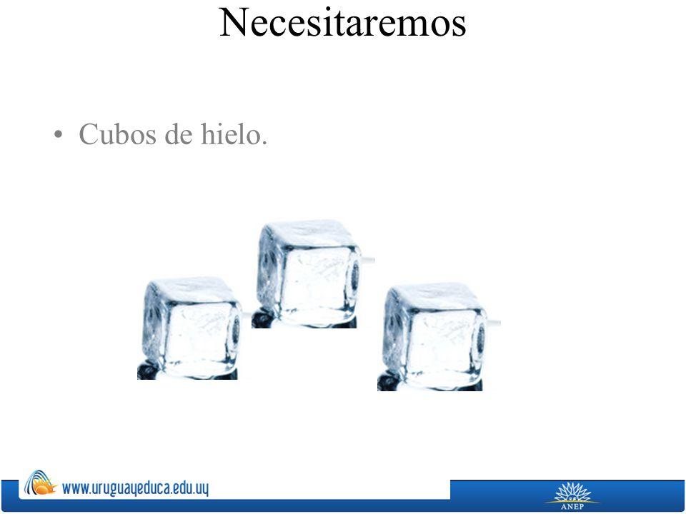 Cubos de hielo. Necesitaremos