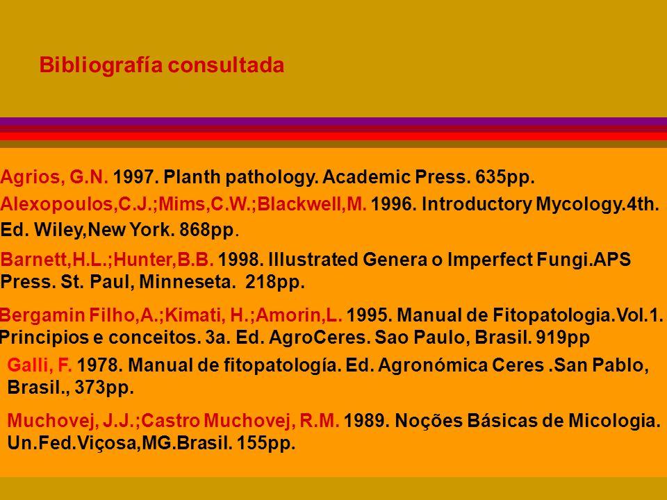 Bibliografía consultada Agrios, G.N.1997. Planth pathology.