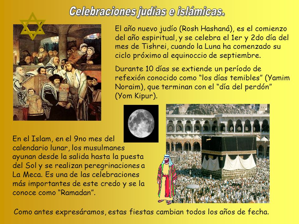 El año nuevo judío (Rosh Hashaná), es el comienzo del año espiritual, y se celebra el 1er y 2do día del mes de Tishrei, cuando la Luna ha comenzado su ciclo próximo al equinoccio de septiembre.
