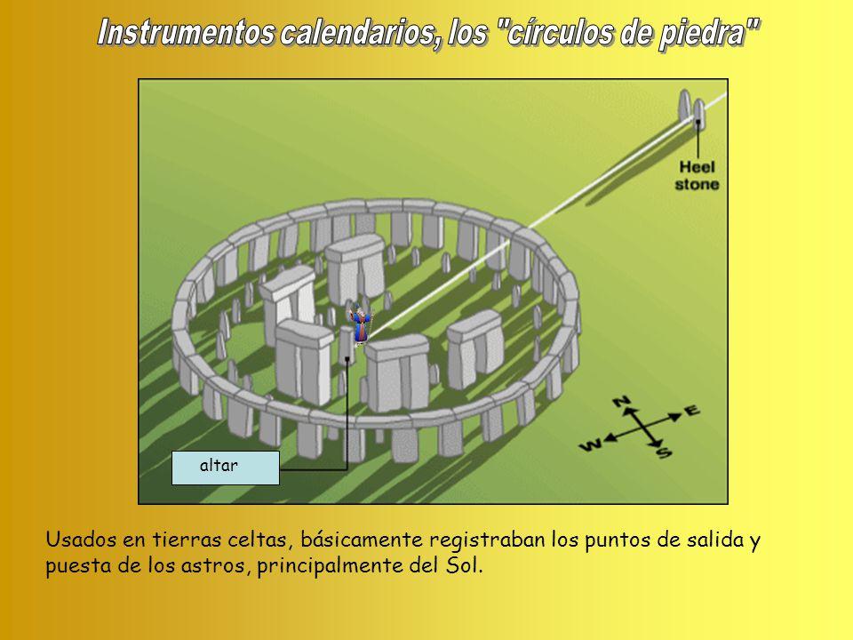 altar Usados en tierras celtas, básicamente registraban los puntos de salida y puesta de los astros, principalmente del Sol.