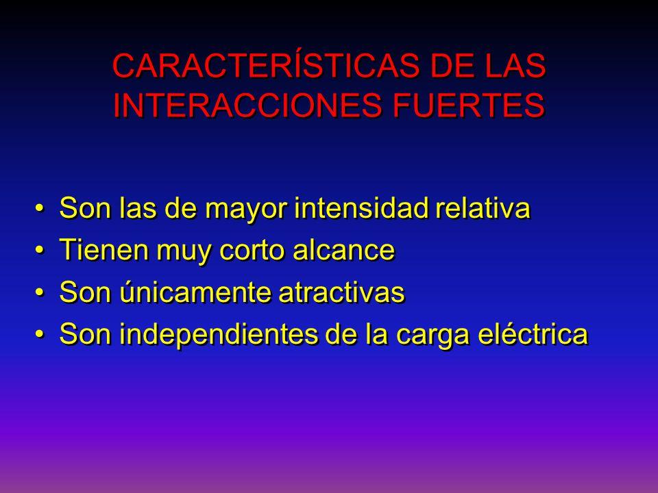 CARACTERÍSTICAS DE LAS INTERACCIONES FUERTES CARACTERÍSTICAS DE LAS INTERACCIONES FUERTES Son las de mayor intensidad relativa Tienen muy corto alcanc