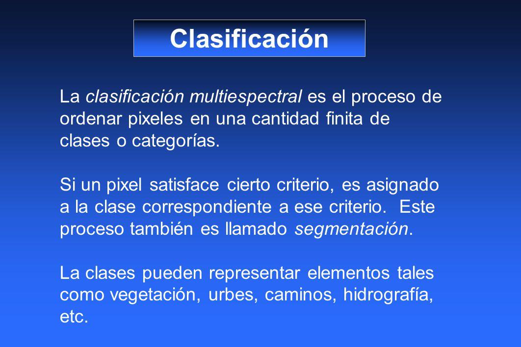 Clasificación La clasificación multiespectral es el proceso de ordenar pixeles en una cantidad finita de clases o categorías. Si un pixel satisface ci