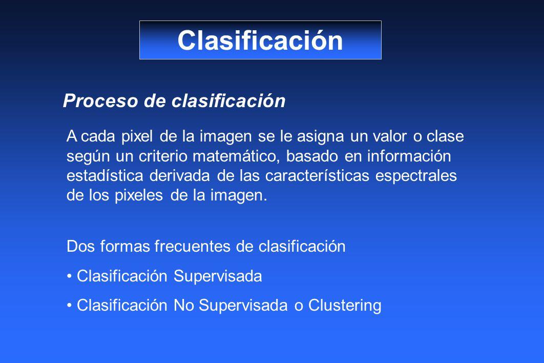 Clasificación Proceso de clasificación A cada pixel de la imagen se le asigna un valor o clase según un criterio matemático, basado en información estadística derivada de las características espectrales de los pixeles de la imagen.