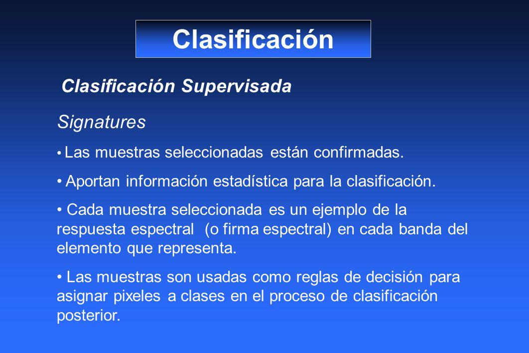 Clasificación Clasificación Supervisada Signatures Las muestras seleccionadas están confirmadas. Aportan información estadística para la clasificación