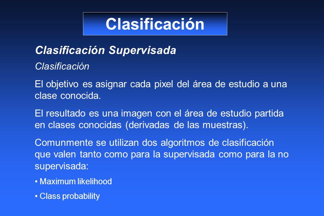 Clasificación Clasificación Supervisada Clasificación El objetivo es asignar cada pixel del área de estudio a una clase conocida. El resultado es una