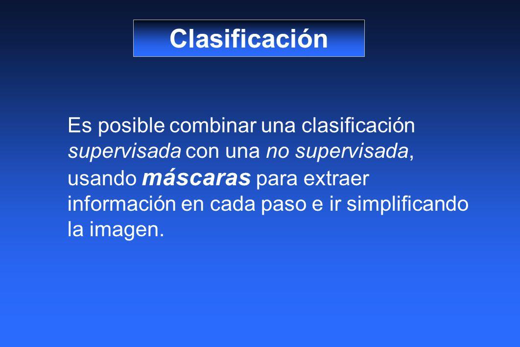 Clasificación Es posible combinar una clasificación supervisada con una no supervisada, usando máscaras para extraer información en cada paso e ir simplificando la imagen.