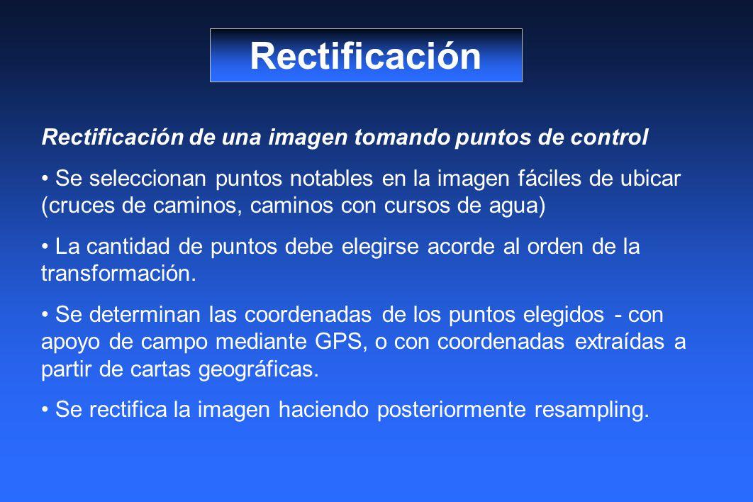 Rectificación Rectificación de una imagen tomando puntos de control Se seleccionan puntos notables en la imagen fáciles de ubicar (cruces de caminos, caminos con cursos de agua) La cantidad de puntos debe elegirse acorde al orden de la transformación.