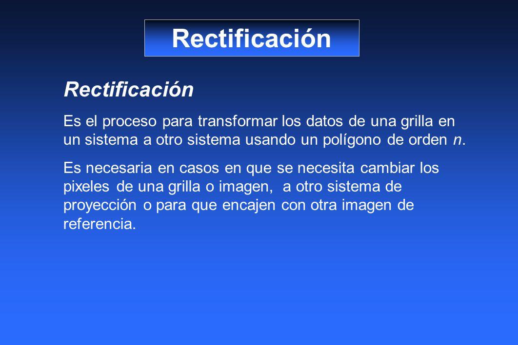 Rectificación Es el proceso para transformar los datos de una grilla en un sistema a otro sistema usando un polígono de orden n.