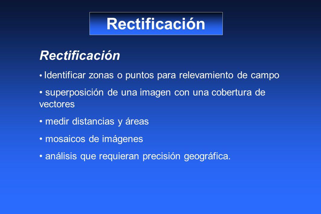 Rectificación Identificar zonas o puntos para relevamiento de campo superposición de una imagen con una cobertura de vectores medir distancias y áreas