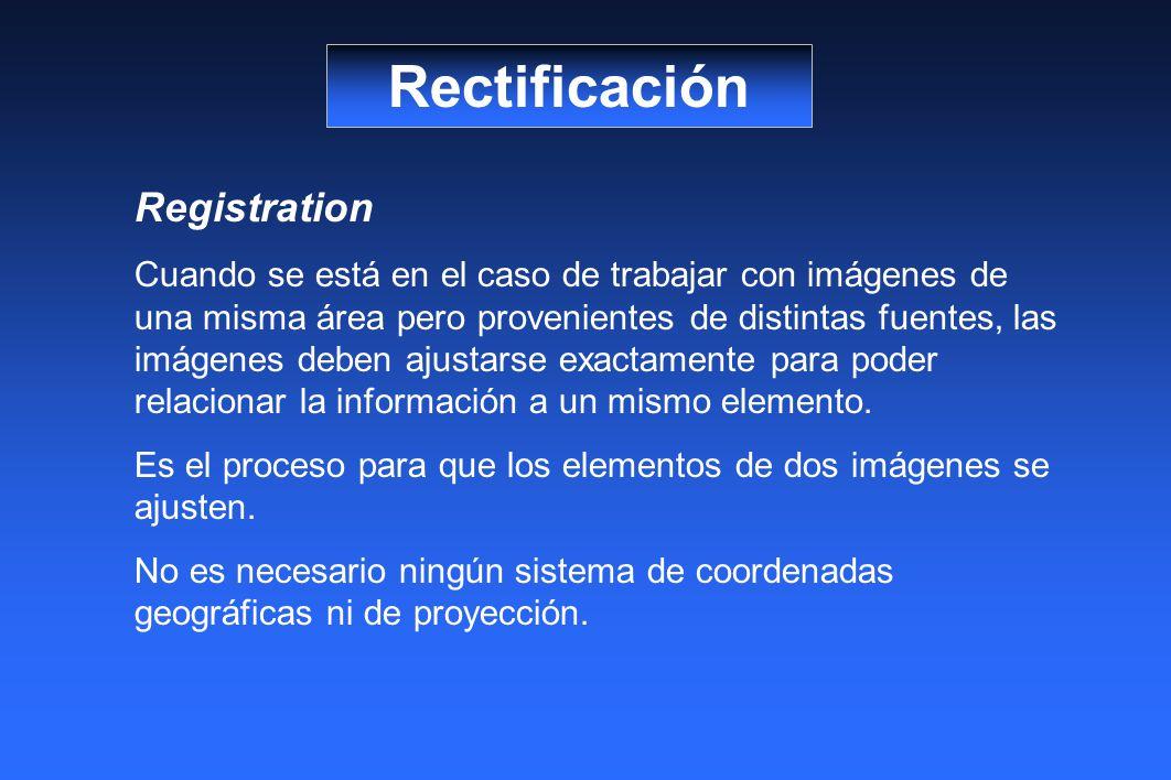 Rectificación Registration Cuando se está en el caso de trabajar con imágenes de una misma área pero provenientes de distintas fuentes, las imágenes deben ajustarse exactamente para poder relacionar la información a un mismo elemento.