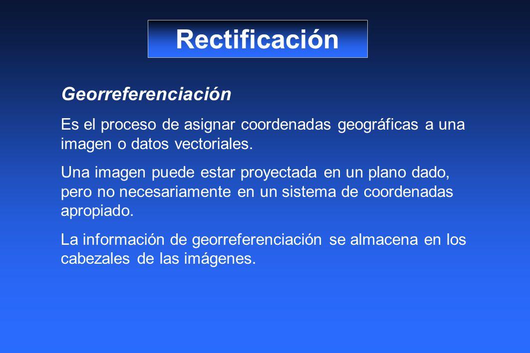 Rectificación Georreferenciación Es el proceso de asignar coordenadas geográficas a una imagen o datos vectoriales. Una imagen puede estar proyectada