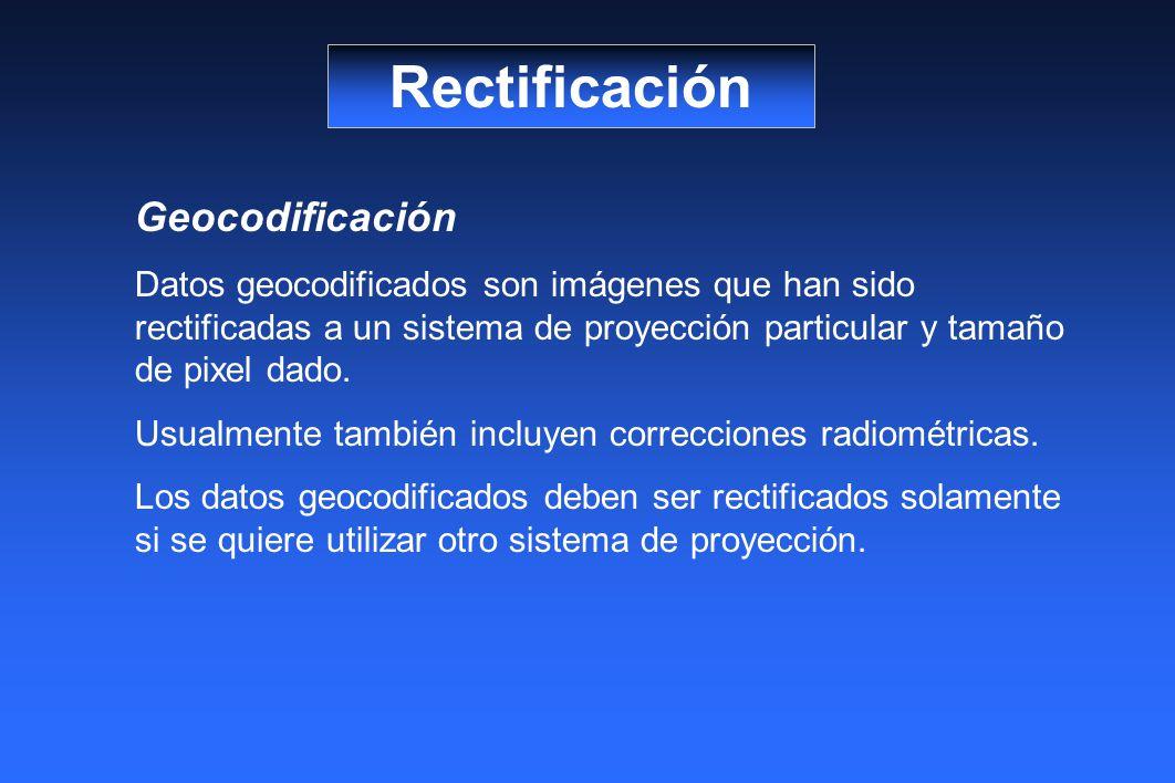 Rectificación Geocodificación Datos geocodificados son imágenes que han sido rectificadas a un sistema de proyección particular y tamaño de pixel dado.