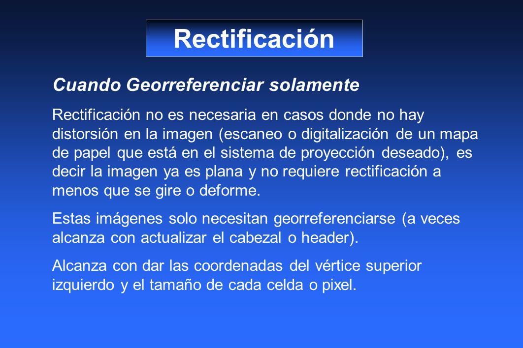 Rectificación Cuando Georreferenciar solamente Rectificación no es necesaria en casos donde no hay distorsión en la imagen (escaneo o digitalización d