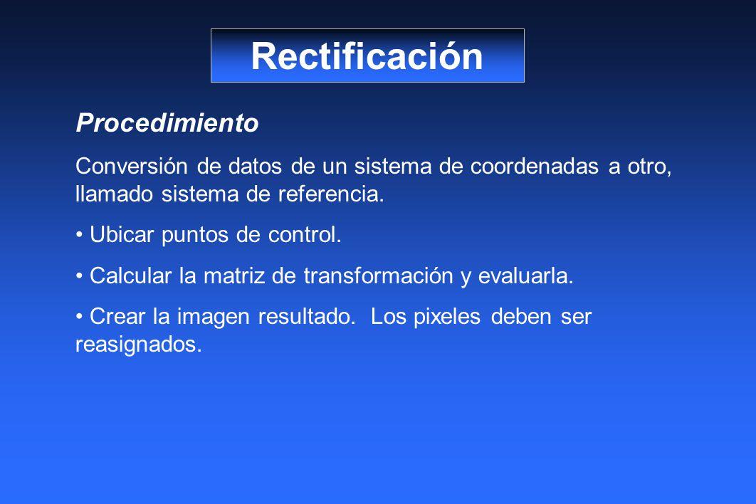 Rectificación Procedimiento Conversión de datos de un sistema de coordenadas a otro, llamado sistema de referencia. Ubicar puntos de control. Calcular