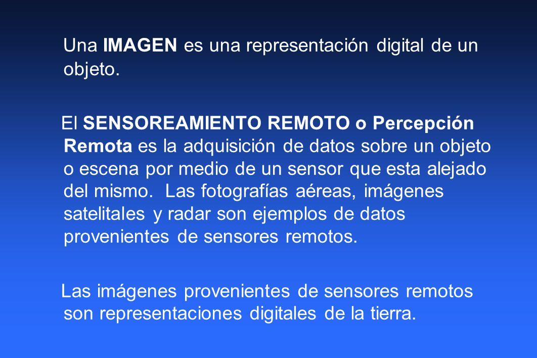Una IMAGEN es una representación digital de un objeto. El SENSOREAMIENTO REMOTO o Percepción Remota es la adquisición de datos sobre un objeto o escen